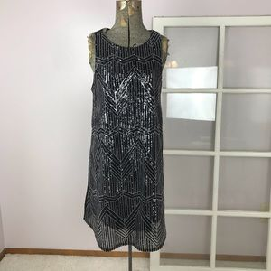 Everly black and silver sequin shift dress